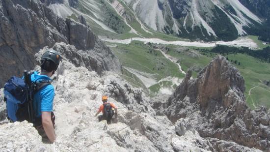 süd Klettersteig-Überschreitung-Sass-Rigais